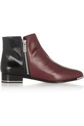 Michael Kors Two Tone Leather Ankle Boots Red