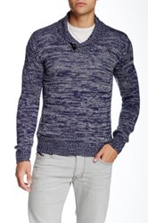 Yoki Shawl Collar Toggle Tab Pullover Blue