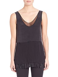 Foundrae Layered Silk Fringe Tank Top Black