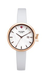Kate Spade Park Row Leather Watch White Rose Gold