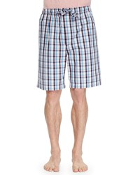 Derek Rose Palermo Plaid Knit Shorts Aqua Blue