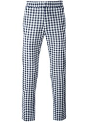 Msgm Checked Tapered Trousers White