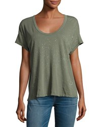 Current Elliott The Slouchy Scoop Neck Tee Dusty Olive Green Pattern