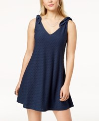 Trixxi Juniors' Knot Shoulder Textured Fit And Flare Dress Navy