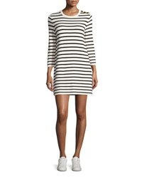 Theory Lemdrella Prosecco Striped Sweater Dress White