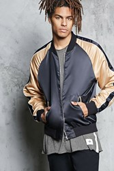 Forever 21 Colorblock Bomber Jacket Black Gold