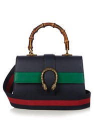 Gucci Dionysus Medium Bamboo Handle Leather Bag Navy Multi