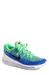 Nike Men's Flyknit 2 Lunarepic Running Shoe Electro Green Black Blue