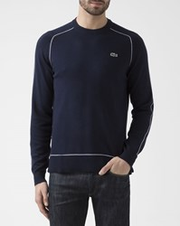 Lacoste Navy Blue Crew Neck Pullover With White Edging