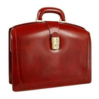 Pratesi Junior Italian Leather Briefcase Dark Brown