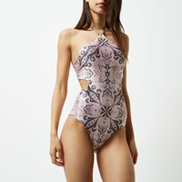 River Island Womens Pink Scarf Print Cut Out Halter Neck Swimsuit