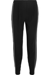 Dkny Satin Trimmed Crepe Track Pants Black