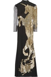 Alexander Mcqueen Sequin Embellished Tulle Gown Gold