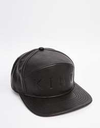 King Apparel 6 Panel Hybrid Leather Snapback Cap Black