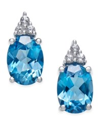 Macy's Blue Topaz 2 3 4 Ct. T.W. And White Topaz 1 5 Ct. T.W. Stud Earrings In 10K White Gold