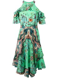 Etro Multiple Print Cut Out Dress Green