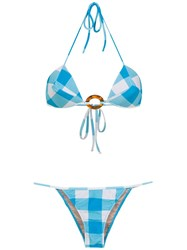 Adriana Degreas Checked Bikini Set Blue