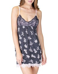 Pj Salvage Floral Printed Chemise Dress Grey