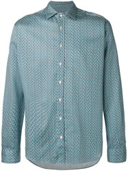 Etro Geometric Dot Print Shirt Men Cotton Xl Blue