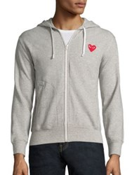Comme Des Garcons Heathered Signature Logo Patch Jersey Hoodie Grey