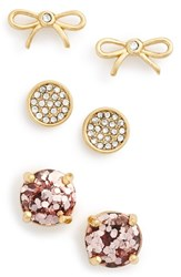 Women's Kate Spade New York Bow And Round Stud Earrings Rose Gold Multi Set Of 3
