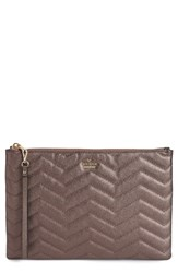Kate Spade New York Reese Park Finley Quilted Leather Clutch Grey Ash Metallic