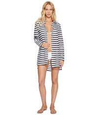 Lauren Ralph Lauren Stripe Crushed Cotton Camp Shirt Cover Up White Navy Women's Swimwear