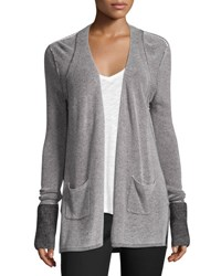 Atm Anthony Thomas Melillo Waffle Knit Open Front Cardigan Black White