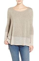 Junior Women's Sun And Shadow Colorblock High Low Tee Beige Ot Md Htr