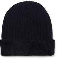 Tom Ford Ribbed Cashmere Beanie Navy