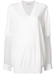 Givenchy Sheer Sleeve Sweater White