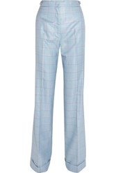 Gabriela Hearst Shipton Checked Silk And Wool Blend Flared Pants Light Blue