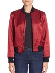 3X1 Satin Collection Bomber Jacket Garnet Red