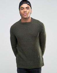 Religion Jumper With Ribbed Arm Detail Khaki Green