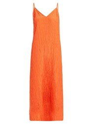 Raey V Neck Crinkled Silk Midi Slip Dress Orange