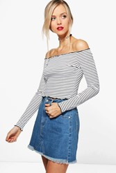 Boohoo Stripe Off The Shoulder Top Ivory