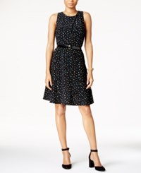 Tommy Hilfiger Belted Polka Dot A Line Dress Black Blue White
