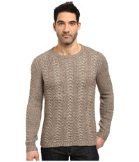 John Varvatos Long Sleeve Crew Neck Sweater W Weave Rib Stitch Y1407s3l Balsa Heather Men's Clothing Brown