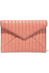 Rebecca Minkoff Woman Leo Zip Embellished Quilted Leather Envelope Clutch Antique Rose