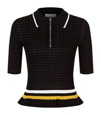 3.1 Phillip Lim Smocked Peplum Polo Shirt Female Black