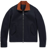 Wooyoungmi Contrast Trimmed Wool Blend Bomber Jacket Midnight Blue