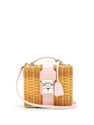 Mark Cross Harley Rattan And Leather Body Bag Light Pink