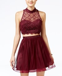 Sequin Hearts Juniors' Glitter Lace Crop Top And Skirt Set Wine