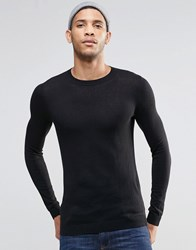 Asos Muscle Fit Crew Neck Jumper In Black Cotton Black
