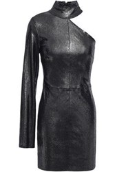 Rta Woman Cutout Lizard Effect Leather Mini Dress Gunmetal
