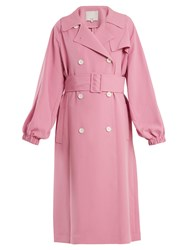 Tibi Belted Double Breasted Trench Coat Pink