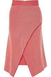 Serle Wrap Effect Striped Cotton Blend Midi Skirt Red