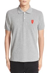 Comme Des Garcons Men's Stretch Heart Face Polo Top Dyed Grey