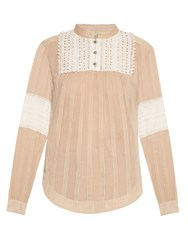 Sea Embroidered Cotton And Silk Blend Top Camel