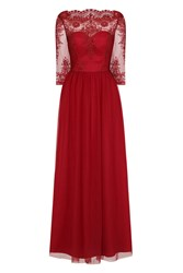Chi Chi London Embellished Embroidered Maxi Dress Red